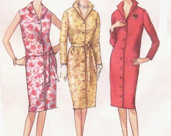 1960s Womens Button Front Shift Dress Italian Collar Summer Shift Dress Simplicity Sewing Pattern 5538 Size 16 Bust 36 UnCut