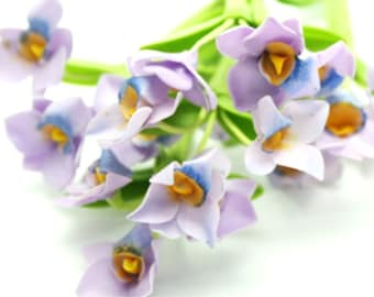 Royal Purple Orchid with leaves, set of 12 stems, 1.0 USD each