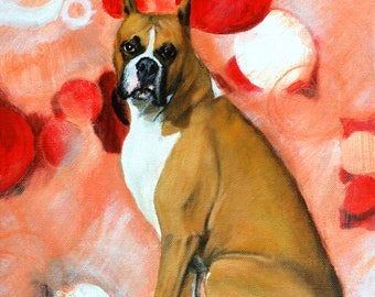 Boxer Painting Contemporary Art, Dog Canine Art 11x14, Original Canvas Wall Art, Modern, Whimsical Art Work - Handpainted, No Print