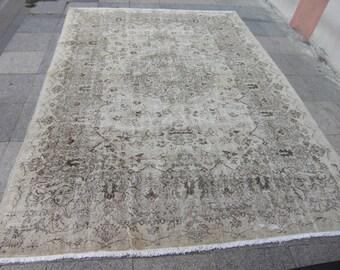 turkish oushak rug , vintage large, large turkish rug, rug for living room, cream vintage rug, 256