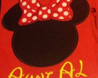 Mickey or Minnie Mouse Applique T Shirt Great for Disney World Vacations  - Sizes 3 months to Adult 5XL