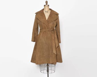 Vintage 70s SUEDE JACKET / 1970s Buttery Soft Cocoa Brown Leather Belted Boho Trench Coat