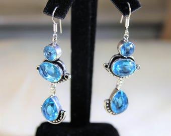 Blue topaz earrings, drop earrings, sterling silver earrings, dangle earrings,