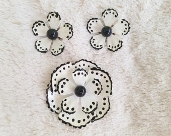 Vintage Black and White Enamel Flower Brooch Pin with matching Earrings