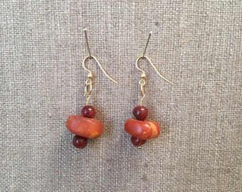 Amber and Carnelian earrings | Handmade Custom Amber Jewelry | Bellezza by Lyn Beaded Earrings