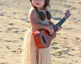 Baby Girl or Toddler Hawaiian HULA Dancer Island Photo Prop- Grass Skirt Coconut Bra n Flower Hairclip or Headband- Made to Order PLAN Ahead