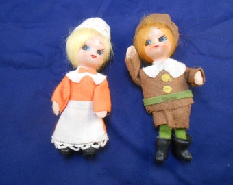 Give Thanks for these Vintage Made in Japan Dolls - Thanksgiving or Christmas - Set of 2