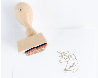 Unicorn stamp - hand drawn majestic unicorn stamp - unicorn doodle - rubber stamp - magical creature - majestic beast - K0055