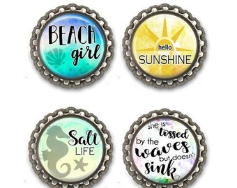 ON SALE - Cute Magnets, Quotes, Beach Girl, Mermaid, Gifts for Her, Holiday Gift, Locker Decoration, Magnet Set, Party Favors
