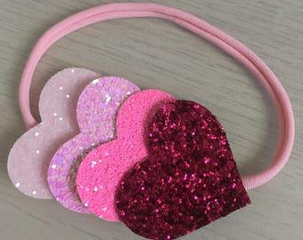 Nylon headband, love heart headband, glitter heart headband, baby headband