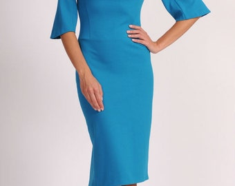 Blue dress Autumn dress Occasion dresses for women Jersey  Dresses with sleeves 3/4 Elegant dress Business woman Office woman Evening Dress