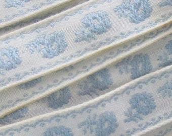 3 Yards Floral Trim Jacquard Ribbon White With Blue Flowers FL 7