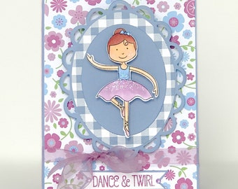 Handmade Ballet Card, Ballerina Card, Dance Recital, Dance Performance, Ballet Birthday, Dancer Birthday, Girls Birthday Card, Ballet Card