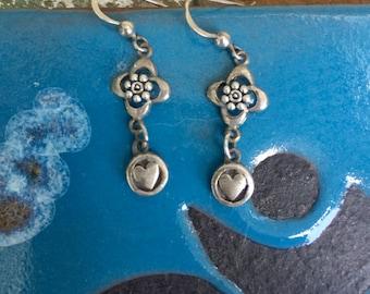 sterling silver earrings, sterling silver earrings dangle, heart earrings, silver earrings, dangle earrings, earrings with heart