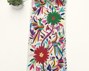 Otomi Mexican Embroidered Textile. Rainbow of colors! Pillow Cover Fabric, Table Runner, Hand-embroidery on Ivory Cotton. Mexican Otomi