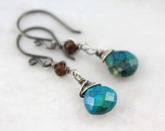 Chrysocolla and Garnet Wrapped Oxidized Silver Earrings