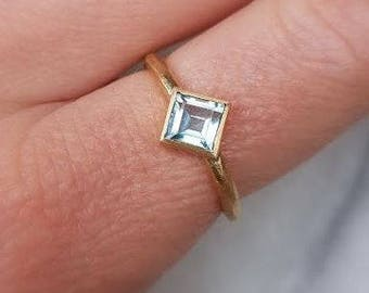 In stock- Square Blue topaz women's 10k solid yellow gold rough ring, engagement ring