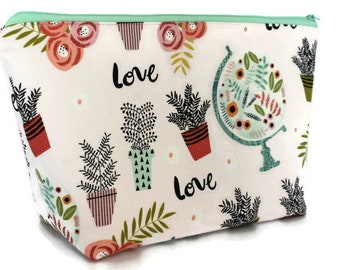 Extra Large Cosmetic Bag - Toiletry Bag - Travel Bag - Makeup Bag - Wet Bag - Accessory Pouch - Travel Love