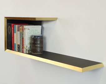 Gold leaf bookshelf - Handmade 22 carat gold leaf edge Valchromat shelf gilded