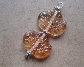 Lampwork Beads - SueBeads - Leaf Beads - Glass Leaves - Glass Leaf Beads  Amber/Red Leaves Fall Glass leaf Handmade Lampwork Beads - SRA M67