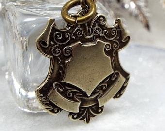 Antique Edwardian Ornate Silver Tone Blank Shield Cartouche Pendant Fob