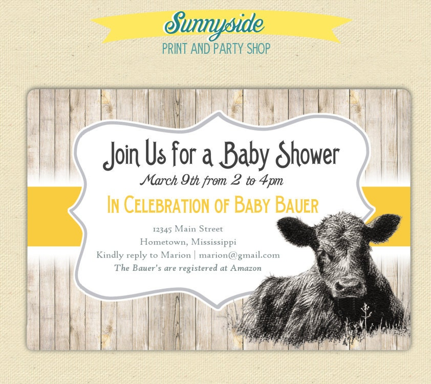 On the Farm / Cute Calf Baby Cow Invite Baby Shower /