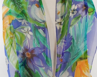 Floral Oblong Silk Scarf Hand Painted With Loose Watercolor Technique in Spring Colors of Blue, Yellow, Purple, Green, Turquoise