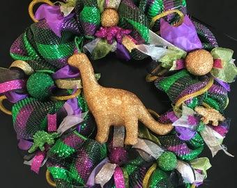Dinosaur Mesh ribbon wreath, dinosaurs, door wreath, whimsical, home decor, fun, home