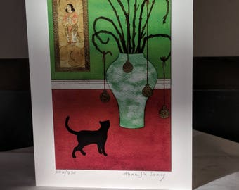 Black Cat - limited edition fine art card, signed and numbered