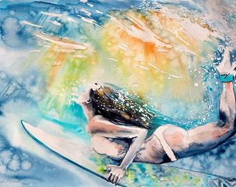 Surfing poster. Surfer Girl. Sea. Gifts for Men. Print.  Womanwatercolor art print. Wall art, wall decor, digital print.