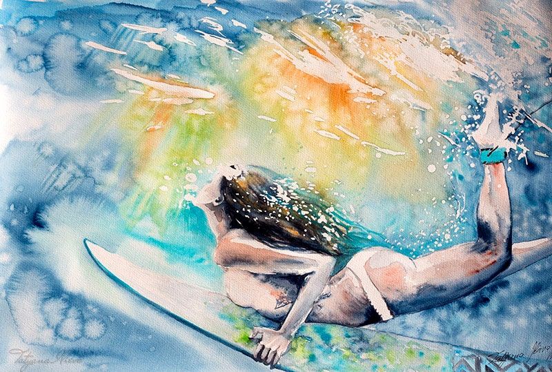 Surfing poster. Surfer Girl. Sea. Gifts for Men. Print.