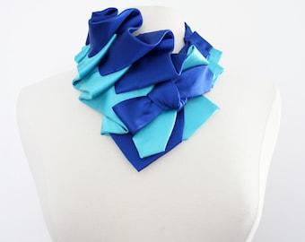 Aster Necktie Scarf in Color Block - Royla Blue and Aqua Satin
