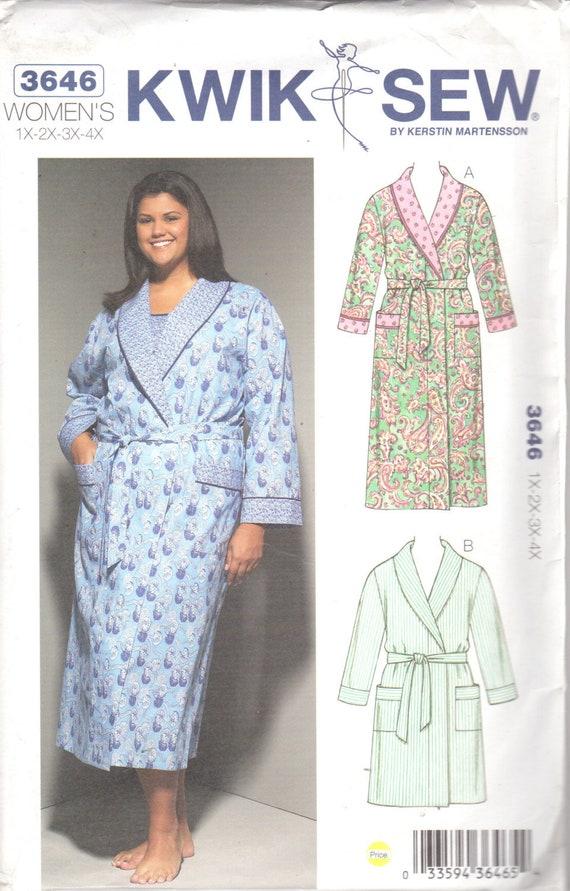 Kwik Nähen 3646 Womens Wrap Robe Muster Schal Kragen