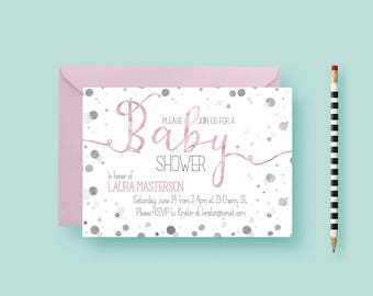 Watercolor Baby Shower Invitation - Baby Shower Invite - Printable or Printed - Script, Calligraphy, Polka Dot, New Baby - FREE SHIPPING