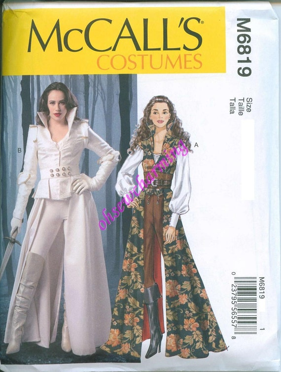 Once Upon a Time Costume Pattern McCalls 6819 Sewing Pattern