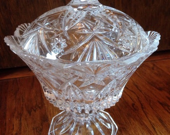 Clear Cut Glass Pedestal Bowl with  Lid
