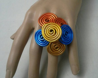 Oversized Ring, Wire Wrapped Ring,  Wire Ring, Extra Large Ring, Big Ring, Women's Ring, Colorful Ring