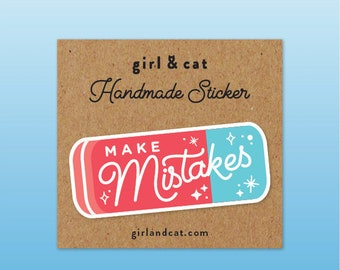 Make Mistakes Eraser Sticker, Sketchbook, Bullet Journal Stickers, Laptop Stickers, Graduation Gift, Lettering, Teacher Planner Stickers