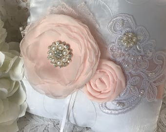 Blush Ring Bearer Pillow, Wedding Accessory, Ring Pillow, Wedding Pillow,Woodland Pillow,YOUR CHOICE COLOR
