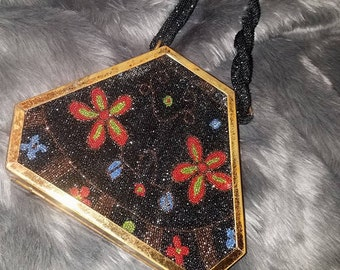 vintage black beaded clutch purse with flowers