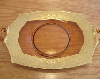 Central Glass Co. Amber Glass Platter/Tray with Gold Trim