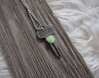 Key Necklace, Antique Key Necklace, Antique Key Jewelry, Silver Necklace, Dreams, Mint Rose Flower,Boho Jewelry,Boho Chic,Style,Gift for her