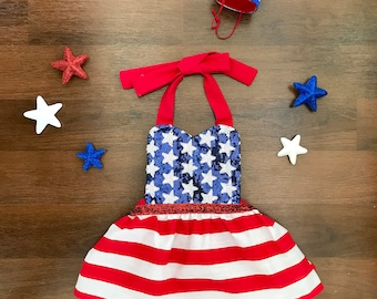 Girls 4th of July Independence Day American Flag Romper