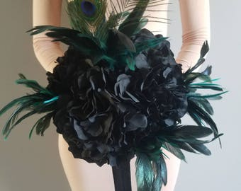 Black Bridal Bouquet, Black Flowers, Black Wedding, Feathers