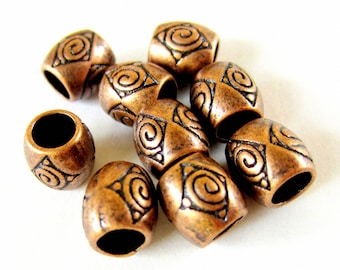 24 Red copper beads large hole 8mm jewelry focals ethnic boho chic wrap jewelry beads lead safe 932y-(W3)