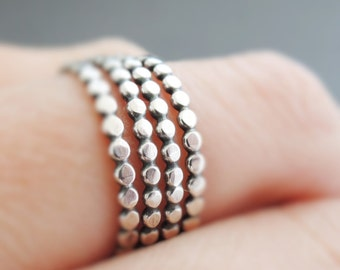 Sterling Silver Rings choose 1, 2, 3 or 4 rings thin oxidized silver stacking rings