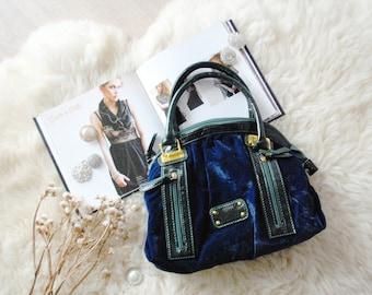 Vintage bag  ~ Blue bag ~ Blue velvet bag ~ Velvet bag