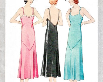 1930 30s pattern evening slip dress deep plunge back // vintage sewing pattern reproduction // PICK YOUR SIZE bust 32 34 36 38