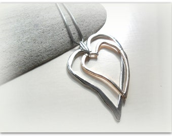 Wonky Silver Plate Rose Gold Outline Heart Charm Long Chain Necklace Etsy Uk Summer Accessories Shiny Silver Heart Necklace