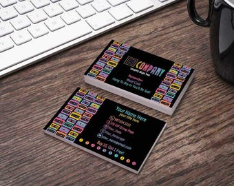 Cassette Mix Tape on Black Business Card - White Logo Available - HO Approved Fonts/Colors - Bundles Available - OldSkool Leggings Business